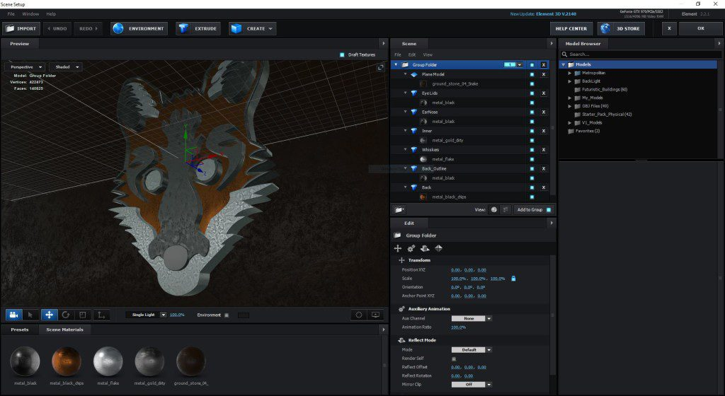 Video Copilot's Element 3D Version 2 in Adobe After Effects CC 2015.